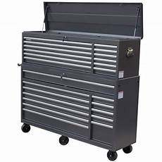 wen 66 in 24 drawer tool chest and cabinet combo gray
