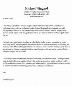 Sample Cover Letter For Finance Manager Position 14 Job Application Letters For Manager Pdf Doc Free