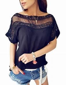 boat neck blouse splicing mrwonder lace boat neck collar sleeve t shirt