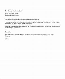 Two Weeks Notice Letter Examples 9 Two Weeks Notice Letter Examples Pdf Google Docs Ms