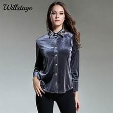 Gray Work Blouse Willstage Gray Velvet Shirts Birds Beading
