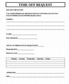 Paid Time Off Forms Free 6 Request For Time Off Form Samples In Ms Word Pdf