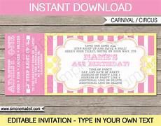 Ticket Invite Template Free Carnival Birthday Ticket Invitations Template Carnival