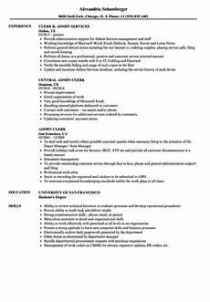 Administrative Clerk Duties Admin Clerk Resume Samples Velvet Jobs
