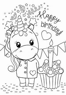 unicorn happy birthday coloring pages for you