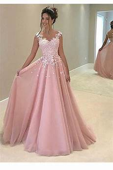 a line pink lace prom dresses evening gowns 3020248