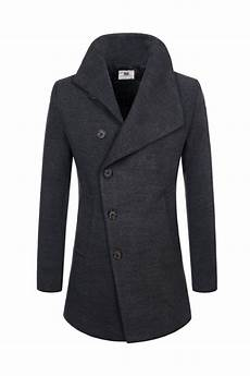 trendy coats for shaver charcoal grey mens asymmetric single breasted wool blend
