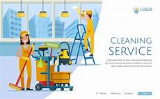 Cleaning Service Pictures Cleaning Service With Workers Website Design Premium Vector