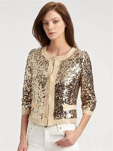 sparkly coats milly sequin jacket in gold metallic lyst