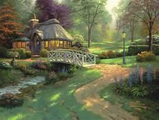 kinkade cottage painting cottages