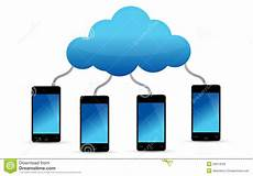 Mobile Cloud Mobile Phones Connected To Cloud Stock Illustration