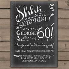 Free Surprise Birthday Party Invitations Surprise 60th Birthday Invitation Chalkboard Invitation