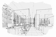 Perspective Office Download Sketch Interior Perspective Office Black And