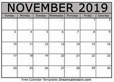 November Calendar Printable Printable November 2019 Calendar