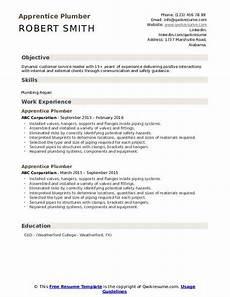 Plumbing Resume Samples Apprentice Plumber Resume Samples Qwikresume