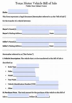 Bill Of Sale For Car In Texas Free Texas Motor Vehicle Bill Of Sale Form Pdf Word Doc
