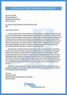 Letter Of Recommendation For Residency Psychiatry Residency Letter Of Recommendation Sample
