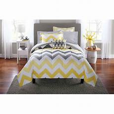 mainstays yellow grey chevron bed in a bag 6 bedding