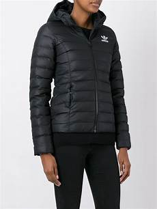 slim fit coats for black adidas originals synthetic slim fit padded jacket in black