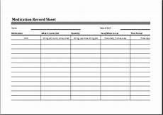 Medication Sheet Medication Record Sheet Editable Printable Excel Template
