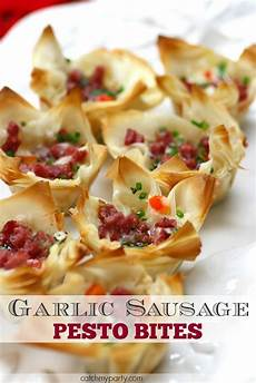 garlic sausage pesto appetizer bites catch my