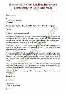 Letter To Landlord Requesting Repairs Template Letter To Landlord Requesting Reimbursement For Repairs Made