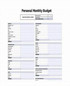 Examples Of Budgets Personal Monthly Income