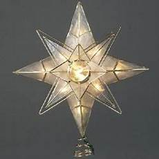 Large Light Up Star Tree Topper 10 Quot Lighted Double Four Point Capiz Star Christmas Tree