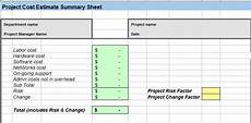 Estimate Format In Excel Project Cost Estimating Spreadsheet