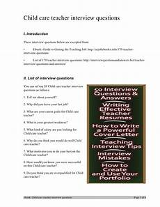 Interview Questions For Special Education Teachers Child Care Teacher Interview Questions