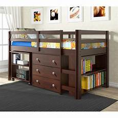donco cappuccino low loft bed with desk chest