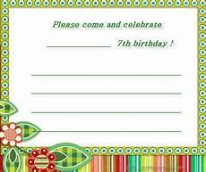 7th Birthday Invitation Card Printable 7th Birthday Invitations Free Printable Party Invitation