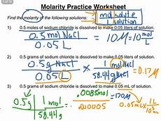 Chemistry Concentration Problems Molarity Practice Worksheet 1 3 Science Chemistry
