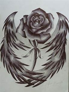 Drawing Of Angel Wings I Want This The Rose Represents My And The Angel