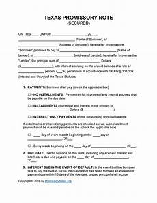 Secured Promissory Note Template Word Texas Secured Promissory Note Template Promissory Notes