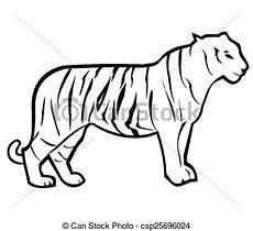 Simple Tiger Outline Tiger Outline
