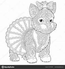 Malvorlage Hund Mandala Zentangle Terrier Hund Malvorlagen Stockvektor