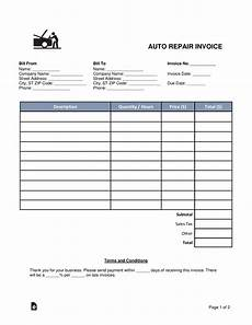 Automotive Receipt Free Auto Body Mechanic Invoice Template Word Pdf