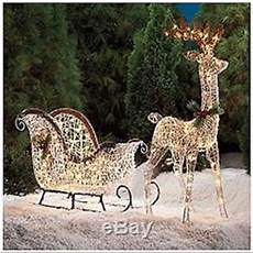 Lighted Santa Sleigh And Reindeer Outdoor Pre Lit Lighted Reindeer Sleigh Santa Buck Christmas