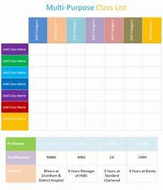 Multipurpose Class List Multi Purpose Class List Template Dotxes