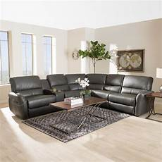 Gray Reclining Sectional Sofa 3d Image by Baxton Studio Amaris 5 Grey Leather Reclining