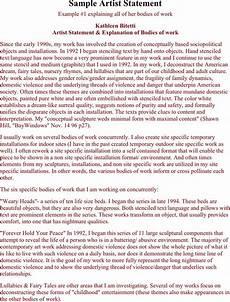 Artist Statement Sample 3 Artist Statement Examples Free Download