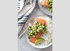 Roasted Salmon with Avocado Cucumber Salsa   Recipe