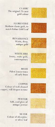 Shades Of Gold Color Chart Liquid Leaf Colour Chart For Gold Leaf Gilding Information