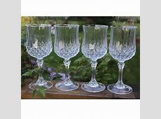 6 x Clear Crystal Effect Plastic Wine Glasses Acrylic