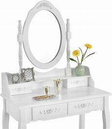white dressing table set with adjustable oval mirror