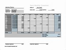 Semi Monthly Timesheet Template Excel Semi Monthly Timesheet Horizontal Orientation Work Hours