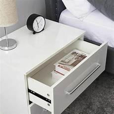 white bedside cabinet table high gloss chest of drawer