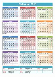 C Alendar 2018 Yearly Calendars With Holidays Activity Shelter