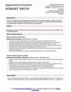 Medical Scheduler Resume Appointment Scheduler Resume Samples Qwikresume